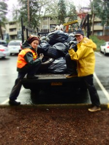 Urban land stewards showing off a job well done.  Great litter pick up!
