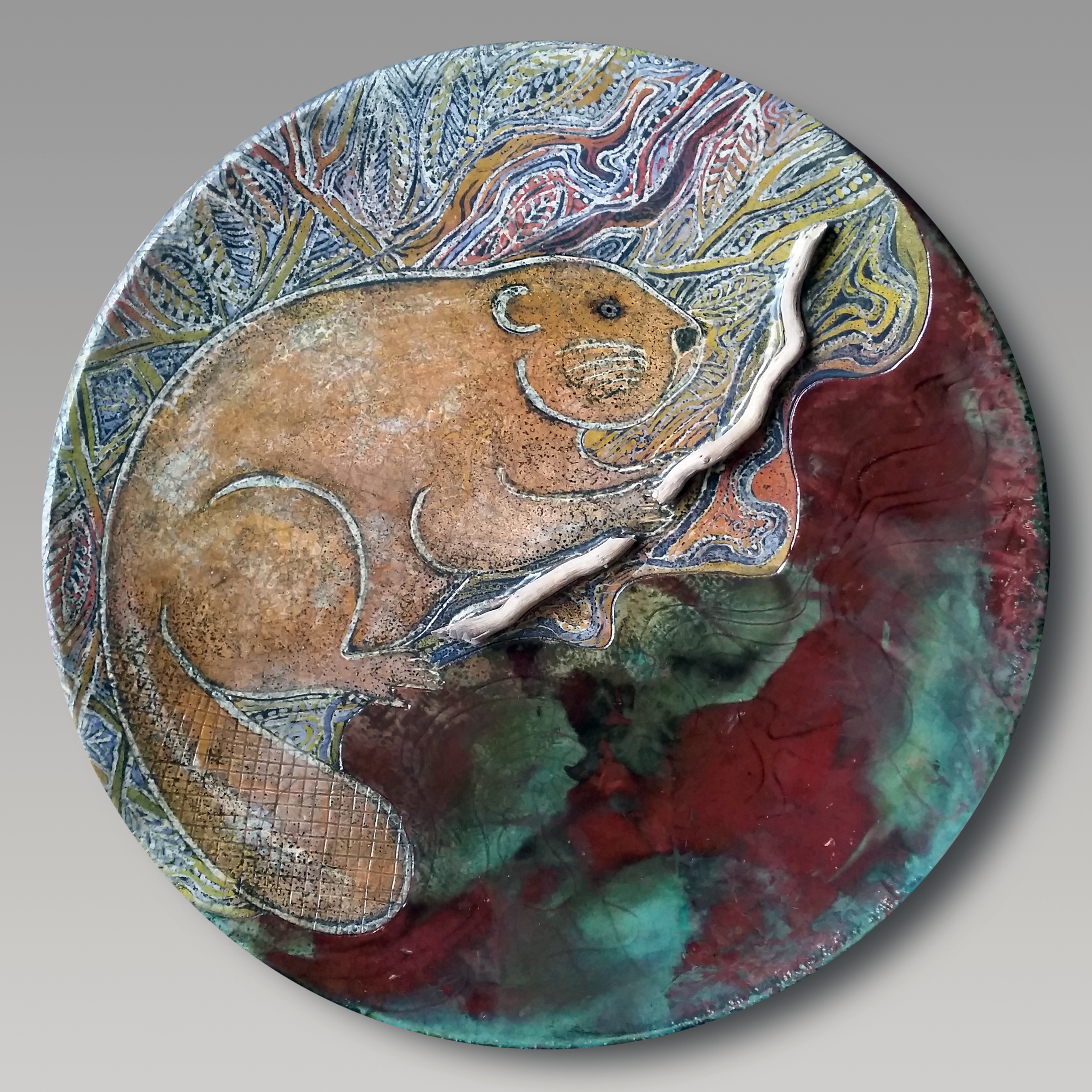 Batik Raku Wall Platter, Boni and Dave Deal