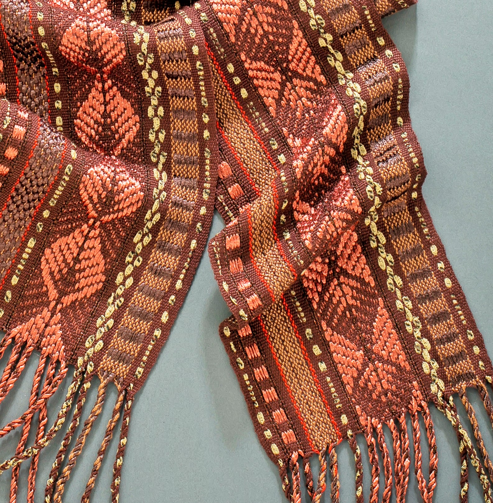 Garlington, Copper Leaves, Handwoven Scarf (2)
