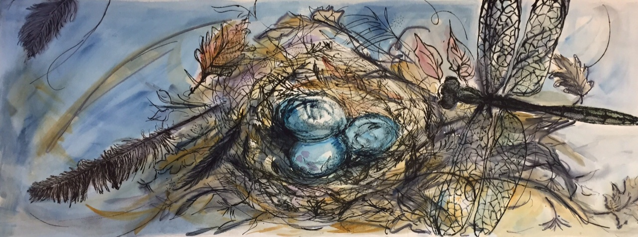 Hoberg-Nest and Dragonfly-Mixed Media