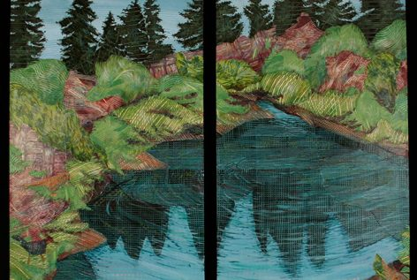Munson-Pond-Below-Oswego-Lake-Diptych-Mixed Media
