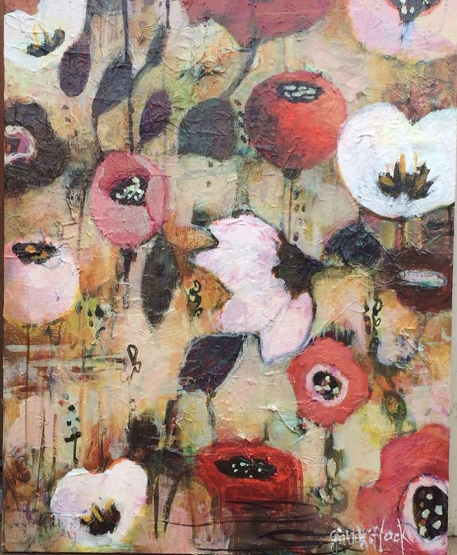 Whitlock-Pink Poppies-Mixed Media