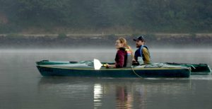 Chase Landsdale and Jen Hayduk searching for eelgrass.